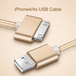 Voxlink 30 Pin Usb Kabel Voor Iphone 4 S 4 Metalen Plug Nylon Gevlochten Draad Lader Kabel 2A Snel Opladen data Sync Cord Voor I