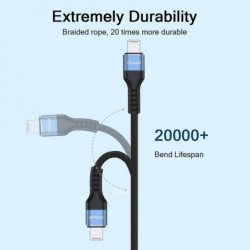 QGeeM MFi-gecertificeerde USB-kabel voor iPhone 12 Mini Pro Max XS X XR 11 8 7 6 Plus 2.4A Snel opladen Lightning-kabel USB-data