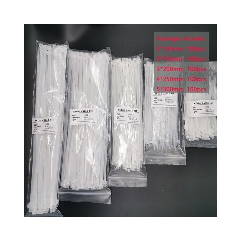 Groothandel Nylon Kabelbinders 100 Mm 150 Mm 200 Mm 250 Mm 300 Mm Zwart Wit Self Locking Kabel Draad zip Ties